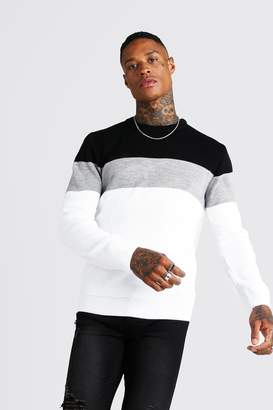boohoo Muscle Fit Long Sleeve Colour Block Knitted Jumper