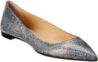 Christian Louboutin Ballalla Iridescent Glitter Leather Ballerina Flat