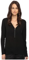 The Kooples Long Sleeve T-Shirt with A Zip Neckline in Silk and Jersey