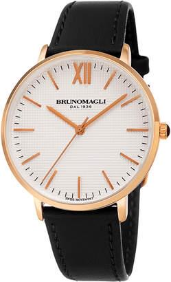 Bruno Magli 36mm Roma Classic Leather Watch, Black/Rose