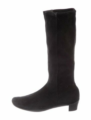 Prada Suede Riding Boots Black