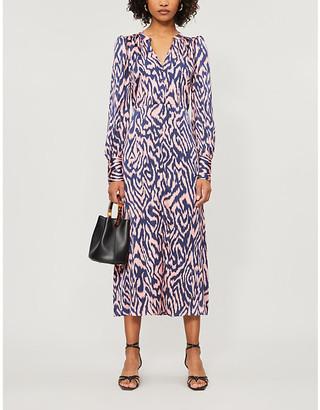 KITRI Mindy abstract-pattern stretch-silk midi dress
