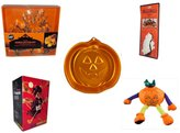 "Secure-Order-Marketplace Gift Bundles Halloween Fun Gift Bundle [5 piece] - Wilton Autumn 8-Piece Cookie Cutter Set - Halloween Resin ""Boo."" Sign - Wilton Iridescents Jack-O-Lantern Pan - Halloween Animated 16"" Hanging Witch - Pumpkin"