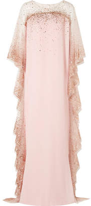 Marchesa Ruffled Sequined Tulle-trimmed Cady Gown - Blush