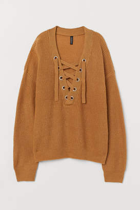 H&M H&M+ Sweater with Lacing - Beige