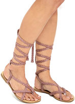 Glamorous Girlfriend Light Dusty Pink Braided Gladiator Sandals