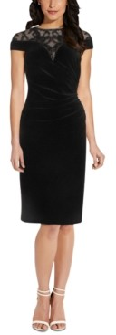 Adrianna Papell Illusion-Neck Velvet Sheath Dress