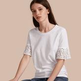 Burberry Lace Trim Cotton T-shirt