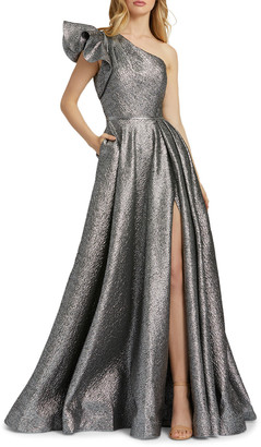 Mac Duggal Asymmetric Ruffle Metallic Ball Gown