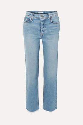 GRLFRND Helena Cropped Frayed High-rise Straight-leg Jeans - Mid denim