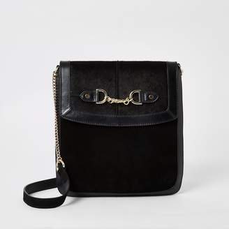 River Island Womens Black leather chain front messenger bag