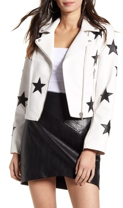 Blank NYC BLANKNYC Star Patch Faux Leather Moto Jacket