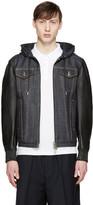 DSQUARED2 Navy Denim & Leather Jacket