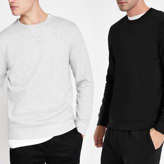 River Island Black and grey long sleeve sweatshirt 2 pack