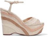 Schutz Theon Embroidered Woven Wedge Sandals
