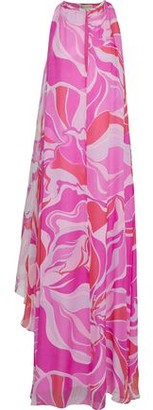 Emilio Pucci Draped Printed Silk-chiffon Maxi Dress
