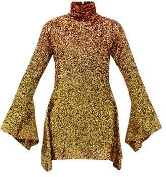 Halpern Degrade Sequinned Mini Dress - Womens - Gold Multi