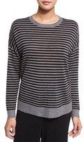 Eileen Fisher Striped Ultrafine Round-Neck Top, Black/Ash, Petite