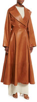 The Row Laug Leather Fit-&-Flare Coat, Antique Brass