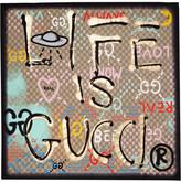 Gucci Printed Silk Crepe De Chine Scarf - Black