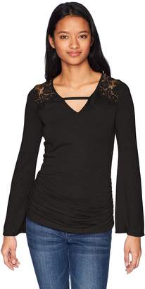 Amy Byer A. Byer Flare Sleeve Top with Lace Trim (Junior's)