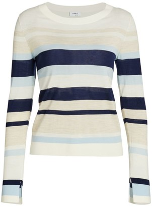 Akris Punto Striped Long-Sleeve Wool Sweater