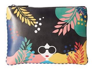 Alice + Olivia Melody Printed Zip Top Clutch (Fantasy Stace Face) Handbags