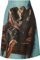 Prada Printed Wool And Silk-blend Skirt - Light blue
