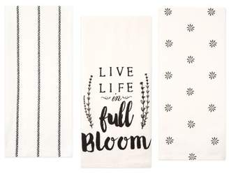 Sticky Toffee Cotton Flour Sack Kitchen Towels, Live Life Flour Sack, 3 Pack, 28 in x 29 in