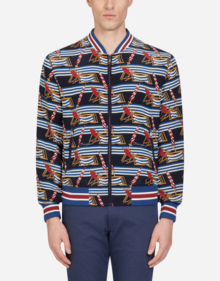 Dolce & Gabbana Crepe De Chine Jacket With Sunlounger Print