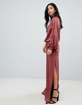 Asos Design DESIGN one shoulder satin jumpsuit with blouson sleeve-Black