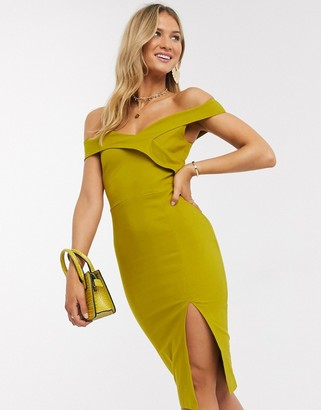 Vesper bardot midi dress in deep lime