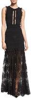 Elie Saab Sleeveless Knit Gown w/Lace Trim, Black