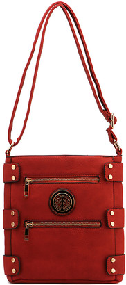 MKF Collection by Mia K. Women's Crossbodies Red - Red Double-Zip Pocket Crossbody Bag