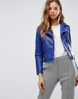 MANGO Leather Look Biker Jacket