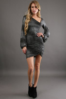 Savee Couture Shimmer Asymmetric Neck Dress