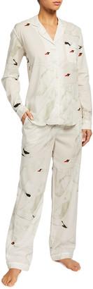 Desmond & Dempsey Leda Swan Print Long-Sleeve Pajama Set
