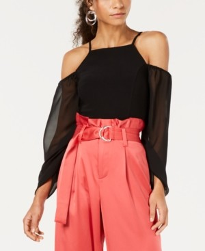 Bar III Mixed Media Cold-Shoulder Ruched-Sleeve Top, Created for Macy's