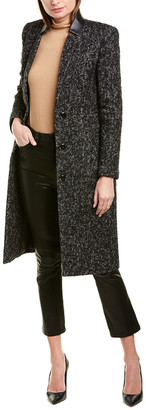 Mackage Bianca Leather-Trim Tailored Coat