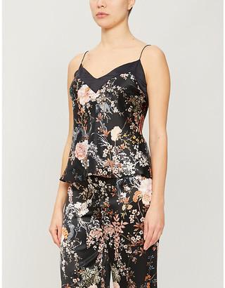 Selfridges Floral-print silk-satin top