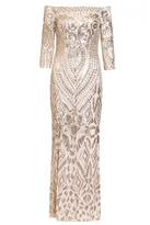 Quiz Champagne Sequin Bardot Fishtail Maxi Dress