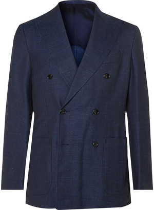 Beams Unstructured Double-Breasted Wool, Silk And Linen-Blend Denim Blazer