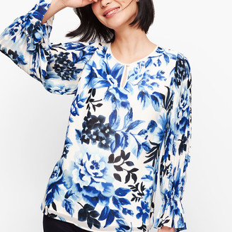 Talbots Gathered Sleeve Watercolor Floral Top