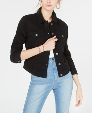 Tinseltown Juniors' Black High-Low Jean Jacket