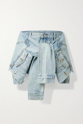 Alexander Wang Tie-front Layered Frayed Denim Shorts
