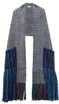 Wehve - Alma Fringed-pocket Merino Wool-blend Scarf - Womens - Blue