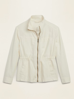 Old Navy Linen-Blend Utility Zip Jacket for Women