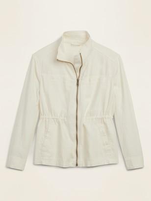 Old Navy Linen-Blend Utility Zip Jacket for Women