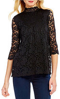 Bobeau Lace Mock Neck 3/4 Sleeve Lace Top