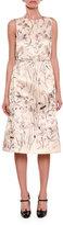 Bottega Veneta Sleeveless Floral-Print Satin Dress